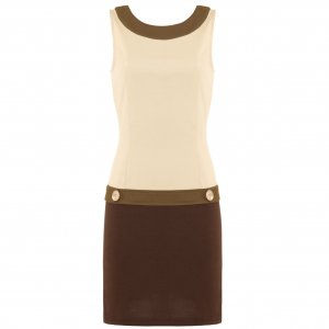 BEIGE WOMENS 60s VINTAGE COLOUR BLOCK SHIFT JERSEY CASUAL DAY MINI BODYCON TUNIC DRESS UK 10, US 6