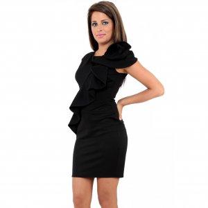 WOMENS LADIES BLACK RUFFLE FRILL BODYCON FORMAL CASUAL EVENING PENCIL SHIFT DAY DRESS UK 10, US 6