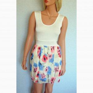 WHITE PINK BLUE CREAM BROWN SUMMER FLORAL SKIRT MINI VEST TOP 2 IN 1 DRESS UK 12, US SIZE 8