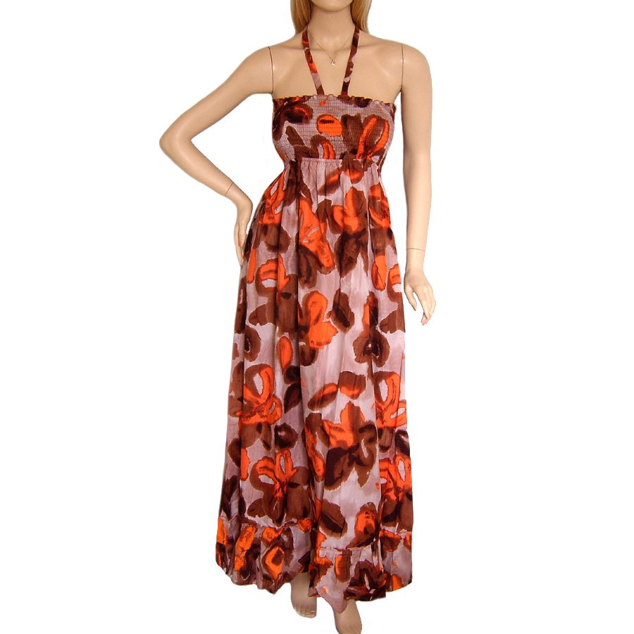 ORANGE & BROWN FLORAL HALTERNECK SUMMER MAXI DRESS UK SIZE 16, US SIZE 12