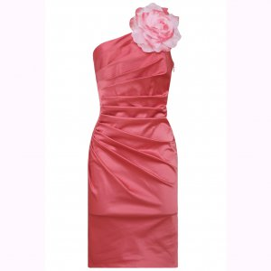 WOMENS LADIES CORAL SHOULDER CORSAGE EVENING COCKTAIL BODYCON MINI PROM PARTY DRESS UK 10, US 6