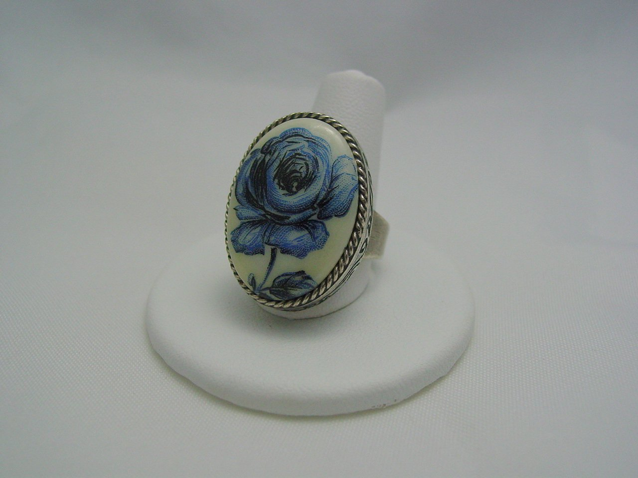Blue Floral Czech Glass Cabochon Antique Silver Ring