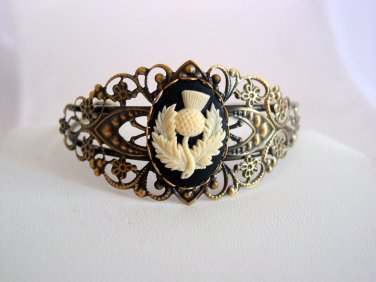 Outlander Thistle Cameo Cuff Bracelet, Scottish Heritage Filigree Antique Bronze Cuff Bracelet