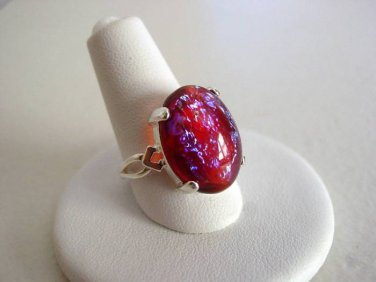 Large Dragons Breath Vintage Glass Mexican Opal Sterling Silver 925 Artisan Bezel Ring Size 6