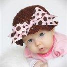 Madisyn Brown and Pink Polka Dot Bow Hat