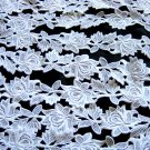 12yds WHITE Venise Lace Trim Embroidered Rose Applique