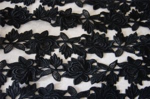 10yds BLACK Venise Lace Trim Embroidered Rose Applique