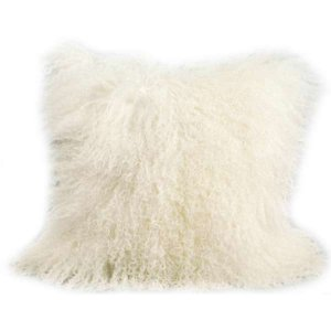 16 x 16 Natural White Mongolian Fur Sheep Shaggy Pillow