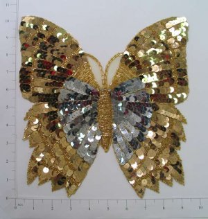 "10.25"" HUGE Sequin Butterfly Applique Gold & Silver"