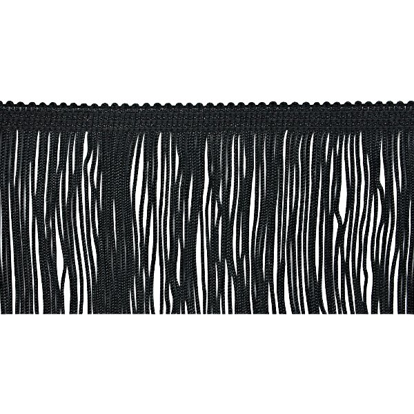 "4"" Black Chainette Fabric Fringe Trim By the Yard"