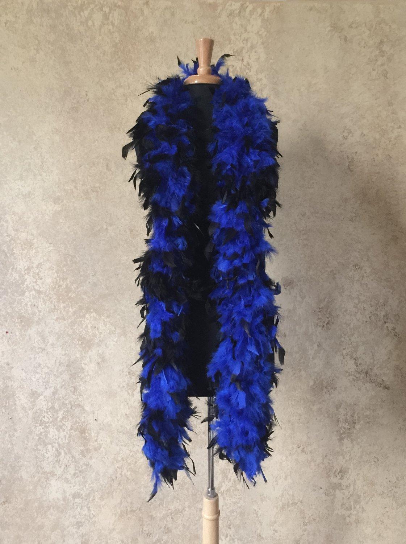 120 g gram gm Black Tipped Royal Blue Chandelle Feather Boa Halloween Costume Mardi gras