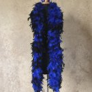 120 g gram gm Black Tipped Royal Blue Chandelle Feather Boa Halloween Costume Mardi gras