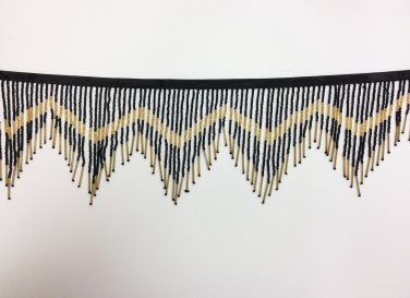 "By the Yard-6"" Black & Gold Glass Seed Bead & Bugle Chevron Beaded Fringe Lamp Home Decor Trim"