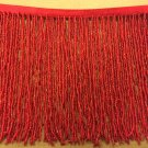 "6.5"" Red Glass SEED Bead Beaded Fringe Lamps, Costumes, Crafts"
