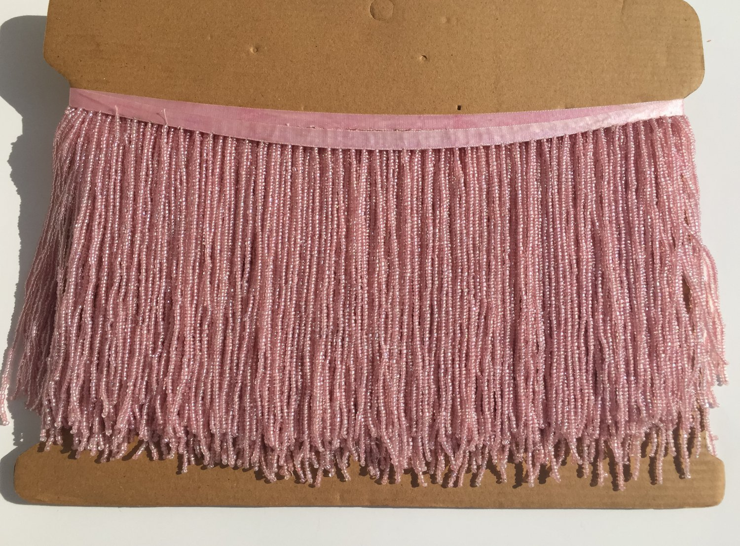 """6.5"""" Light Pink Glass Seed Bead Beaded Fringe Lamps, Costumes, Crafts"""