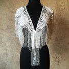 WHITE Sequin and Beaded Fringe Shawl Bridal Wrap Shoulder Shrug