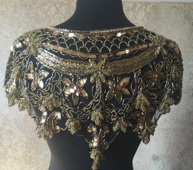 GOLD/BLACK Sequin and Beaded Shawl Bridal Wrap Shoulder Shrug