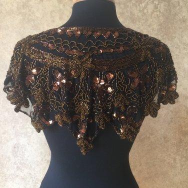 COPPER BROWN/BLACK Sequin and Beaded Shawl Bridal Wrap Shoulder Shrug