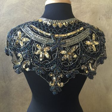 Peacock Black Gold Sequin and Beaded Shawl Bridal Wrap Shoulder Shrug