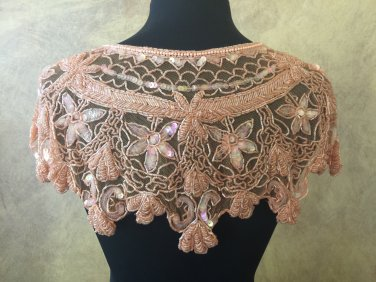 Peach Sequin and Beaded Shawl Bridal Wrap Shoulder Shrug
