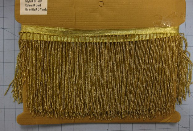 """5 yard Bolt-6.5"""" GOLD Glass SEED BEAD Beaded Fringe Lamps, Costumes, Crafts"""