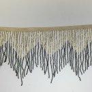 "6.5"" Chevron Black & Gold Glass BUGLE Bead Beaded Fringe Lamps, Costumes, Crafts"