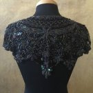 Sequin Beaded Lace Hip Wrap Collar Shoulder Shrug Shawl Applique Peacock Black