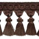 "4"" Chocolate Brown Fabric Tassel Fringe Lampshade Home Decor Trim by the Yard"