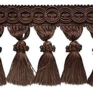 """4"""" Chocolate Brown Fabric Tassel Fringe Lampshade Home Decor Trim by the Yard"""