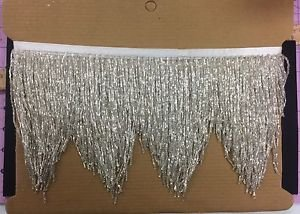 "5yd Bolt 6"" SILVER Glass BUGLE SEED Beaded Fringe CHEVRON Lamp Costume Trim"