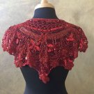 Sequin Beaded Lace Hip Wrap Collar Shoulder Shrug Shawl Applique Red