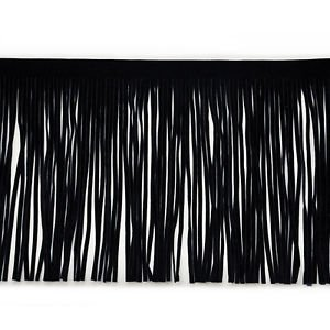 """By Yard-6"""" Black Faux Suede Leather Fabric Fringe Lampshade Lamp Costume Trim"""
