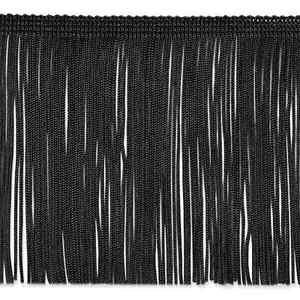 """6"""" Black Chainette Fabric Fringe Lampshade Lamp Costume Trim by the Yard"""
