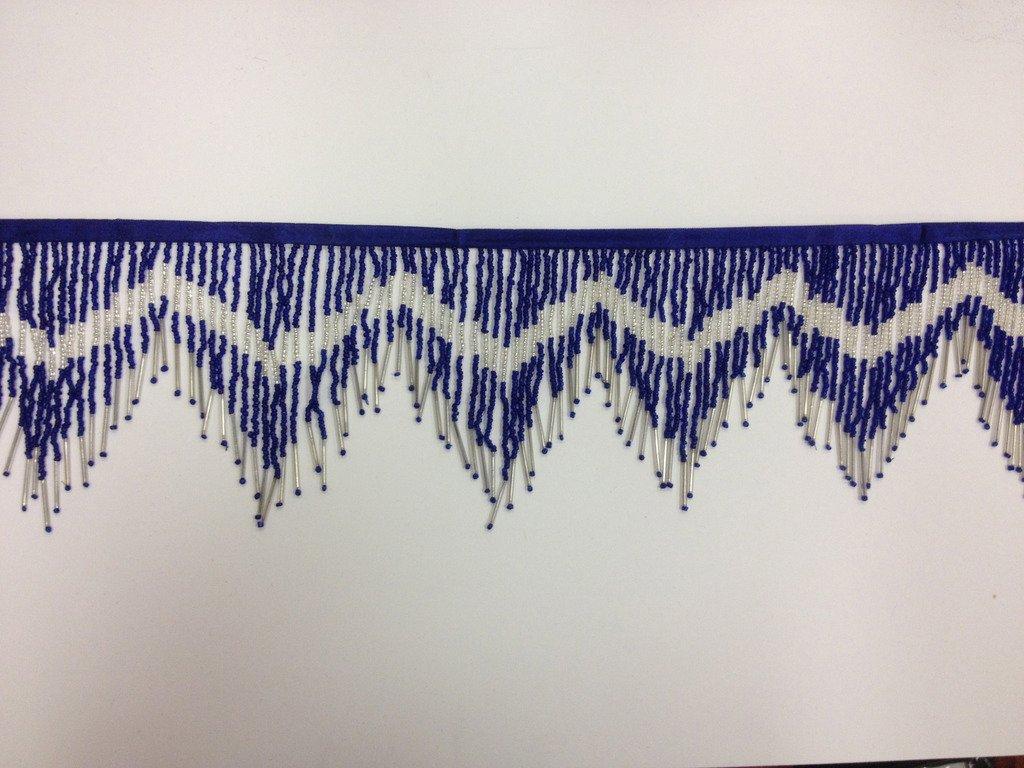 "6"" Royal Blue Glass Seed Bugle Beaded Fringe Chevron Lamp Costume Trim by Yard"