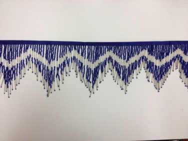 "6"" Royal Blue Glass Seed Bugle Beaded Fringe Chevron Lamp Costume Trim by Yard"