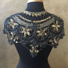 Sequin Beaded Lace Hip Wrap Collar Shoulder Shrug Shawl Applique Peacock Gold