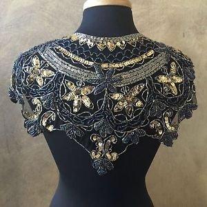 Sequin Beaded Lace Hip Wrap Collar Shoulder Shrug Shawl Applique Peacock Gold