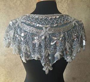 Sequin Beaded Lace Hip Wrap Collar Shoulder Shrug Shawl Applique Silver