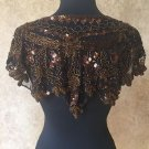 Sequin Beaded Lace Hip Wrap Collar Shoulder Shrug Shawl Applique Copper Brown