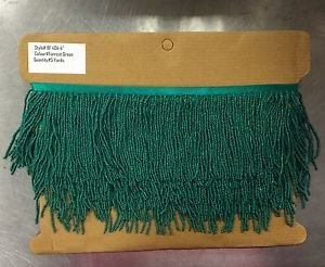 "By the Yard-4"" Glass GREEN Seed Bead Beaded Fringe Lamp Costume Trim"