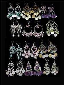 3 pc Lot Shell Pearl Rhinestone Fashion Earrings Dangle Chandelier Wholesale