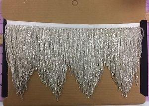 "5yd Bolt 6.5"" Silver Glass BUGLE Bead Beaded Fringe CHEVRON Lamp Costume"