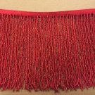 "1 Yard 6.5"" Red Glass Seed Bead Beaded Fringe Lamp Lampshade Costume Trim"