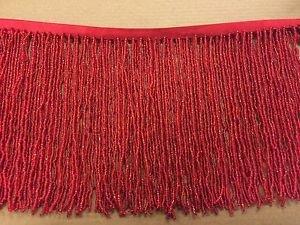 "1 Yard 6.5"" Red Glass Seed Bead Beaded Fringe Lamp Lampshade Costume Trim"