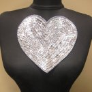 "Valentines 7"" Silver Sequin & Bead Heart Sew on Applique Dance Costume Crafts"