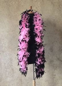 NWT Thick 120g Chandelle Feather Boa pink/Black 6ft Flapper Burlesque Costume