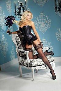 L(38)-Black Sequin & Feather Burlesque Waist Cincher Corset Burlesque Costume
