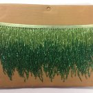 "5 yard bolt 6"" Lime/Emerald Green Ombre BUGLE Beaded Fringe Chevron Lamp Costume Trim"