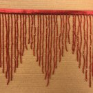 "By the Yard 6.5"" RED Glass BUGLE Bead Beaded Fringe CHEVRON Lamp Costume"