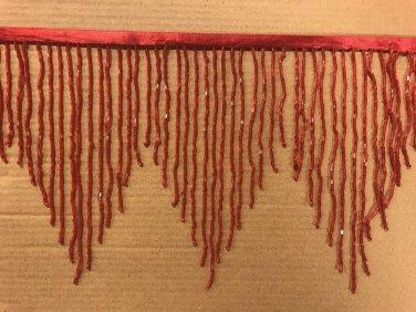 "By the Yard 6.5"" RED Glass BUGLE Bead Beaded Fringe CHEVRON Lamp Costume"